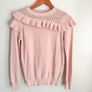 Who what wear pink ruffle pullover sweater 600